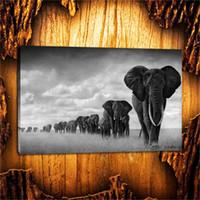 pintando animal selvagem venda por atacado-Animal selvagem do elefante, lona de HD que imprime a pintura home nova da arte da decoração / Unframed / quadro