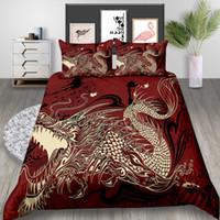ingrosso lenzuola di lusso cinesi-Completo letto stampato Dargon, copripiumino 3D creativo in stile cinese, copriletto matrimoniale singolo di lusso rosso Home Deco con federa