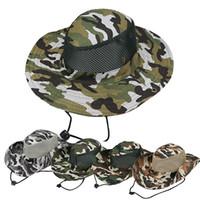 şapka askeri toptan satış-Boonie Şapka Spor Kamuflaj Orman Askeri Kap Yetişkin Erkekler Kadınlar Için Kovboy Geniş Ağız Şapka Balıkçılık Packable Ordu Kova Şapka AAA1875