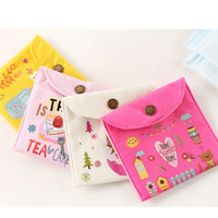 Wholesale credit card organizer purse resale online - Girls Diaper Sanitary Napkin Storage Bag Canvas Sanitary Pads Package Bags Coin Purse Jewelry Organizer Credit Card Pouch Case with dhl ship
