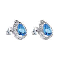 pendientes de lágrima de plata de ley al por mayor-Blue Teardrop CZ Diamond Stud Earrings 925 Plata Esterlina plateado Hermosas mujeres banquete Joyería gotas de agua Pendiente Conjunto