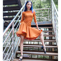 ingrosso moda latina vestito-2019 New Latin Dance Dress Donna Manica lunga Tango Rumba Ballroom Dance Dress Moda moderna Salsa Cha Cha gonna latina