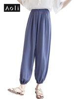 pantalon harem rosa al por mayor-AOLI Pantalones de mujer Verano Largo Tallas grandes Pantalones elásticos delgados Harem Casual Rosa Azul Bloomers Pantalones de mujer DXX910011