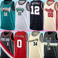 camiseta de baloncesto 34 al por mayor-NCAA 12 Ja Morant Damian Lillard 0 Carmelo Anthony Jersey 00 Giannis 34 Antetokounmpo jerseys del baloncesto para hombre S-XXL
