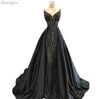 ingrosso modello per abito da sera nero-Chengjun Asian Black Long Banquet Spaghetti Strap Pattern Evening Dress
