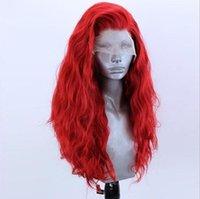 produtos químicos cor-de-rosa venda por atacado-Venda Hot moda peruca nova fibra química Alta Temperatura envio Silk parte dianteira do laço peruca rosa Feminino Longo pequeno Curls peruca grátis