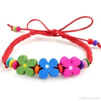 Wholesale children's bracelets resale online - Colorful Wooden Flower Beads BraceletSs for Women Kids Wristband Braided Bracelets Children s Jewelry
