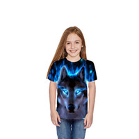 ingrosso grande stampa 3d-Manica corta Lupo 3d Maglietta Stampa bambini Animal Cool Ragazzi Ragazzi Summer Tops Big Kids T Shirt Bambini Y19051003