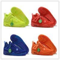 laranja brilhar venda por atacado-2019 Novo 4s weave Azul Vermelho Verde orange 4 homens baixos tênis de basquete esportes tênis ao ar livre formadores de alta qualidade tamanho 7-13 com caixa