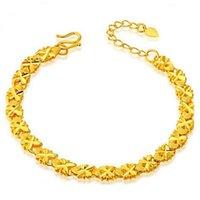 pulseira de bronze banhado a ouro venda por atacado-24k banhado a ouro trevo de quatro folhas sorte clássico moda bronze pulseira para mulheres meninas