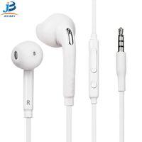 auriculares jack de 3,5 mm al por mayor-S6 S7 Auriculares Auriculares J5 Auriculares Auriculares iPhon 6 6s Auriculares para jack en la oreja con cable con control de volumen del micrófono 3.5 mm Blanco