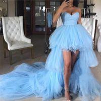 prom kleider größe 12 hoch niedrig großhandel-Mode Hellblau High Low Prom Kleider 2019 Eine Linie Schatz Plus Größe Tiered Tüll Günstige Arabisch Afrikanische Formale Abend Party Kleider
