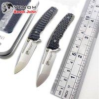 mini outils d'extérieur achat en gros de-KEVIN JOHN mini VENOM Pliage roulement à billes porte-clés Flipper Couteau M390 Titanium survie en plein air couteaux outils