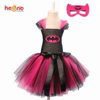 cosplay için sıcak elbiseler toptan satış-Keenomommy Süper Sevimli Süper Kahraman Tutu Kostüm Sıcak Pembe Batgirl Kız Tutu Elbise Maske Ile Cosplay Parti Cadılar Bayramı J190425