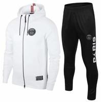 sudadera blanca con capucha al por mayor-PSG blanco París la chaqueta con capucha de fútbol 18-19-20 enrojecimiento chaqueta de chándal de fútbol 2019-20 Survêtement Jordam X capucha PSG