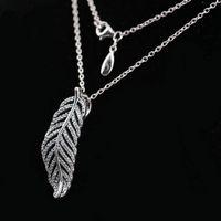 подвесной бриллиант оптовых-НОВЫЙ стерлингового серебра 925 пробы кулон цепи ожерелье комплект оригинальной коробке для Pandora CZ алмазный кристалл женские ожерелья