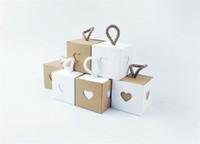 ingrosso scatole di finestra del cuore-New Square Kraft Paper Gift Boxes con corda Love Heart Window Candy Box Gift Bag Decorazione di cerimonia nuziale Baby Shower per feste