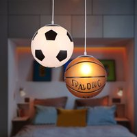 iluminação decorativa de teto de cozinha led venda por atacado-Estilos de basquete de futebol Pendurado Luz Teto Decorativo Luminária Restaurante Quarto Sala de Cozinha Café Loja