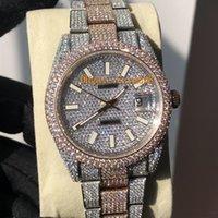 ingrosso diamanti d'argento orologi gli uomini-Pieno Diamond Watch Orologio di lusso fuori ghiacciato Guarda ETA2824 automatico 41MM Uomini d'argento in oro rosa Two Tone impermeabile 904L Acciaio Set Diamante CZ