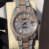silber diamant uhren männer groihandel-Vollständige Diamant-Uhr Luxusuhr Iced Out Uhr ETA2824 Automatische 41MM Männer Silber Rose Gold Two Tone Wasserdicht 904L Edelstahl-Set Diamant CZ