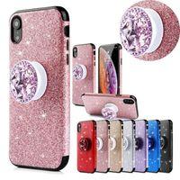 glitzer apfel aufkleber großhandel-Luxus glitter sparkle aufkleber dünne stoßfest hybrid diamant halter weiche tpu matte telefon case abdeckung für apple iphone 6 7 8 plus x xs max xr