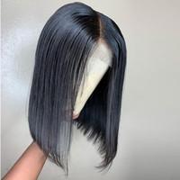 ingrosso chiusure corte dei capelli-4X4 Base di seta corta piena merletto anteriore chiusura parrucche Bob parrucca per le donne di colore nero capelli remy brasiliani