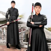 ingrosso costumi cinesi neri-Hanfu Men Ancient Chinese Costume Black Wushu Abbigliamento Tradizionale antico Stage Outfit Qing Dynasty Suit Performance DNV11614