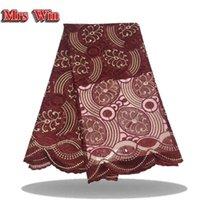 tela yd al por mayor-Recién llegado 5 yd / bolsa de alta calidad corte por láser tela de encaje africano puro rojo vestido de fiesta tela de encaje con corte láser
