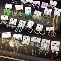 boucle d'oreille tournante achat en gros de-Mode 1000 styles Mélangez de longues boucles d'oreilles entièrement ornées de bijoux Boucles d'oreilles pendantes pour femmes en argent plaqué or