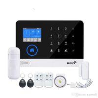 teclado de voz venda por atacado-Sem fios SIM GSM Home RFID assaltante de segurança Toque LCD Keyboard WIFI GSM Alarm kit Sensor Sistema Inglês, Russo, Espanhol Voz