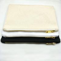 bolsa de lona lisa al por mayor-100 unids / lote 7x10 pulgadas bolsa de cosméticos de algodón natural en blanco bolsa de cremallera de lona natural de 12 oz bolsa de maquillaje en blanco liso stock disponible DHL gratis