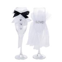 ingrosso set di barre di vetro-Bicchieri di champagne di cristallo di vetro che tostano i vetri di Champagne della festa nuziale bar famiglia calice decorazione bicchieri di vino tazze set regalo GGA1845