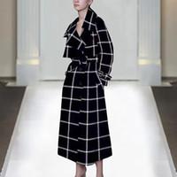 15 kleider für ärmel großhandel-1127-1115 Q 2019 Spring Fashion Designer Runway Damen Kleider Frauen Langarm-V-Ausschnitt Gürtel Plaid Dekoration Kaschmir-Mantel-Jacke