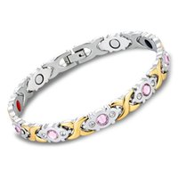 Wholesale health care magnetic bracelets for sale - Group buy Trendcy Fashion Womens Titanium Stainless Steel Magnetic Bracelet Rhinestone Health Care Gift Crystal Hollow Fashion Bangle