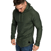 blouse à capuche noire achat en gros de-Hoodies Hommes Mode Hommes Automne Hiver Plis Slim Fit Raglan À Manches Longues En Coton Noir Vert Sport Sweat À Capuche Top Blouse Sweats