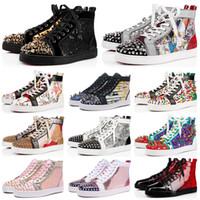 черные шипы оптовых-Дизайнерская обувь Замшевые туфли с шипами Повседневная обувь для женщин Мужская трехместная белая черная красная многоцветная свадебная плоская заклепка Кроссовки 36-47