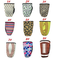 caso isolado venda por atacado-Estampa de leopardo rainbow unicórnio softball beisebol cacto tampa da garrafa de água neoprene isolado saco da luva case bolsa para 30 oz copo copo