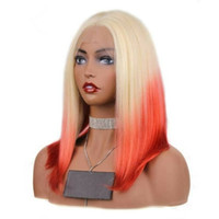 Wholesale bob red ombre wigs resale online - Fashion Ombre Blonde Red Rainbow Mix Color Straight Wig inch Short Bob Lace Front Wig Glueless Synthetic Hair Cosplay Party Women Wigs