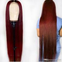 vermelho ombre laço peruca cabelo humano venda por atacado-Ombre 1B 99J Borgonha Vermelho Colorido 13 * 6 Perucas de Cabelo Humano Frente de Malha 360 Frontal Pré-arrancado Em Linha Reta Remy Brasileiro Para Mulher Negra