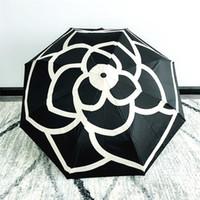 зонтичные сумки оптовых-роскошный классический узор Камелия цветок C логотип Зонтик для женщин 3 раза роскошный зонтик с подарочной коробке и сумке дождь зонтик VIP подарок