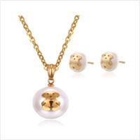 titan bärenschmuck großhandel-Teddybär Halskette Ohrringe Set Perlenbär Schmuck für Frauen