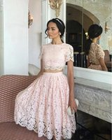Wholesale two piece dresses for evening for sale - Group buy Real picture african Styles Arabic short homecoming Dresses two pieces full lace Formal Dresses for Party Evening Gowns cheap sell LF043