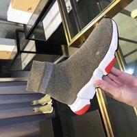 baskets paillettes achat en gros de-Hot 2019 Fashion Luxury Designer Socks Speed formateur chaussure Noir Rouge extérieure Triple paillettes blanc Chaussettes plates Bottes Sneaker Vitesse Ru fz190803