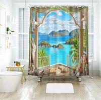 vista de janelas 3d venda por atacado-Padrão de vista do mar 3d cortinas de chuveiro do sol brilho fora da janela cortina do banheiro espessamento à prova d 'água espessada banho cortina