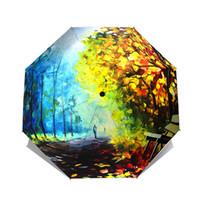 guarda-chuvas de arte chinesa venda por atacado-Umbrella Chuva Mulheres Arte Chinesa Guarda-chuvas Pintura Guarda-chuva Dobrável Mulheres Chuva À Prova de Vento Anti-UV Sol Parasol 50Ry42