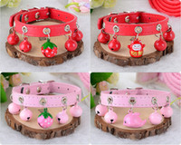 erdbeere liefert großhandel-Haustier Hundehalsband + Leine Teddy Kleiner Hund Zugseil + Glocke Halsband Rosa Erdbeerhalsband + Leine Welpenleine