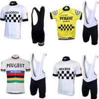 Wholesale bike riding padded shorts for sale - Group buy molteni peugeot NEW Man white yellow Vintage cycling jersey Set Short Sleeve cycling clothing Riding clothes suit bike wear shorts gel pad