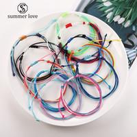 boho tarzı mücevherat toptan satış-El yapımı Katmanlı Örgülü Balmumu Dize Bilezik Kadınlar için Ayarlanabilir Boyutu Etnik Stil Renkli Örgü Halat Bilezik Boho Takı
