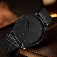 quarz edelstahl kleid uhr schwarz großhandel-Schwarz Quarzuhr Männer Uhren Kleid Berühmte Marke Klassische Edelstahl Armbanduhr Für Männer Uhr Männliche Armbanduhr Stunde