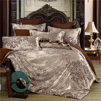 Wholesale burgundy jacquard bedding for sale - Group buy European style jacquard piece bedding set palace style satin wedding bedding group buying gift a generation of fat